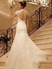 Short Sleeve Beaded Lace Bridal Gown Casablanca 2102