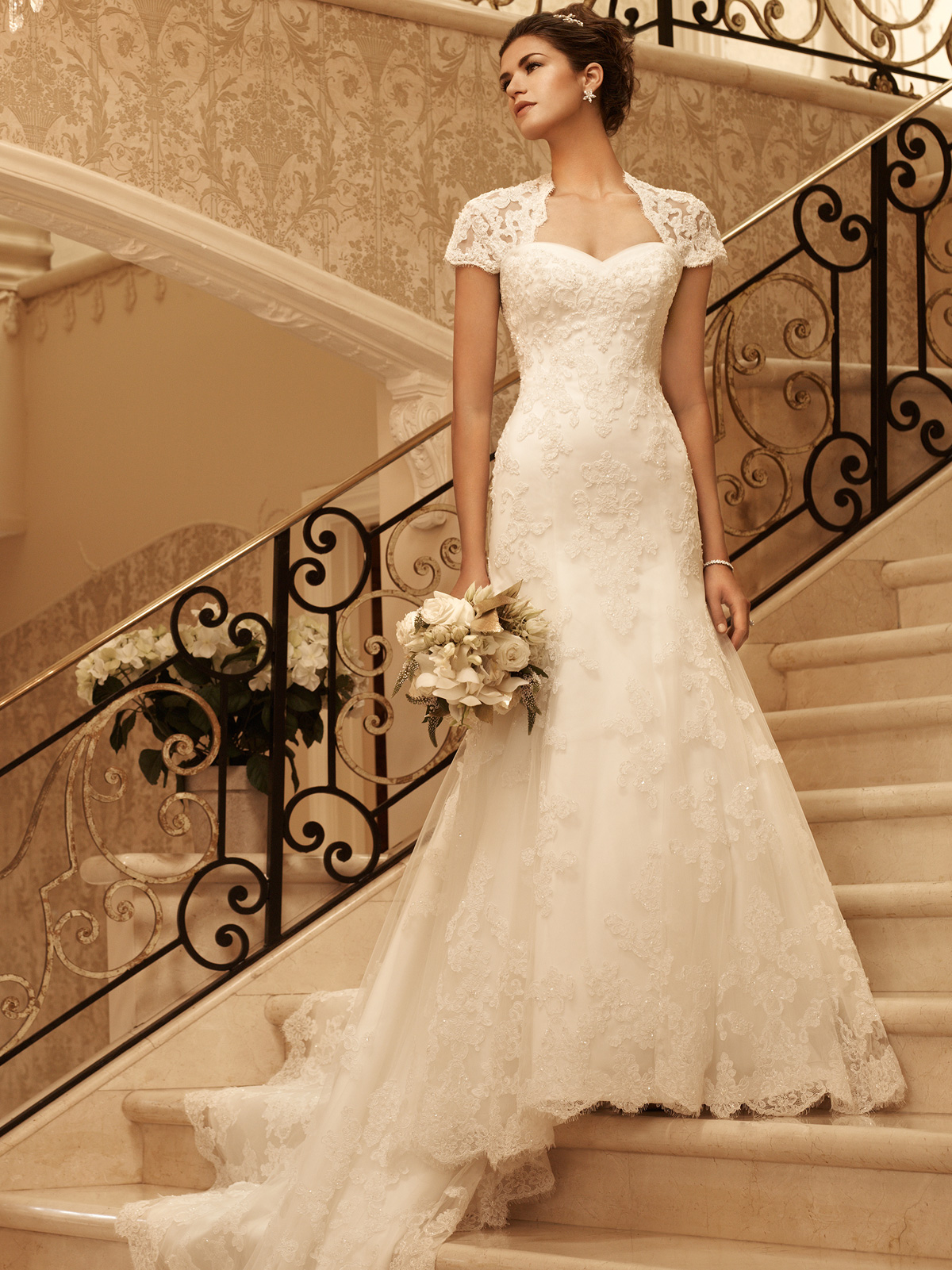 Short Sleeve Fit And Flare Casablanca Bridal Gown 2102DimitraDesigns ...