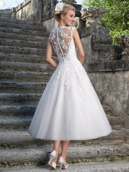 Sincerity 3875 Queen Anne Lace Wedding Dress