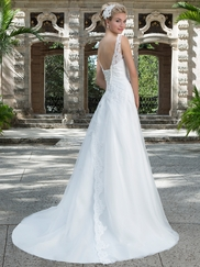 Sincerity 3884 Illusion Sabrina Neckline Wedding Dress