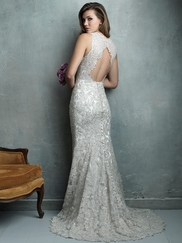 Sleeveless Fitted Lace Allure Couture Wedding Dress C320