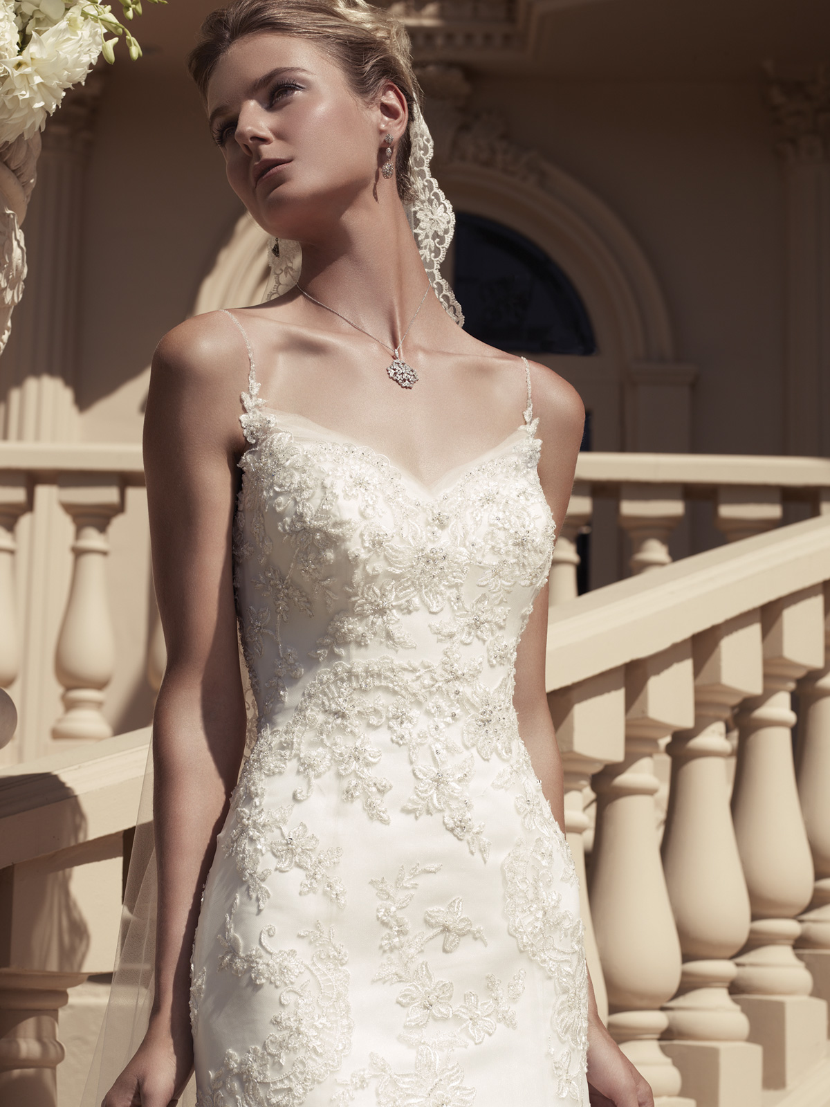 Beaded Spaghetti Strap Wedding Dress