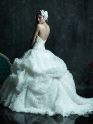 Strapless Embroidered Bodice Wedding Dress Couture By Allure Bridals C242