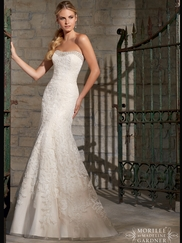 Strapless Lace Fit And Flare Mori Lee Wedding Dress 2705