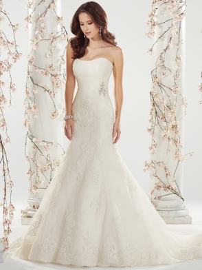 Strapless Pleated Tulle Bridal Gown Sophia Tolli Shireen Y11410