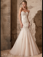 Sweetheart Beaded Lace With Tulle Fit And Flare Mori Lee Wedding Dress 2720