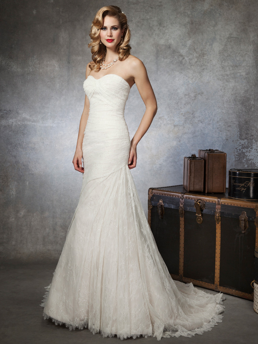 strapless lace wedding dress Strapless Mermaid Sweetheart Lace Wedding Dress with Beaded Belt