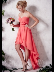 Sweetheart Chiffon High Low Christina Wu Occasions Bridesmaid Dress 22648