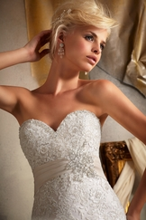 Sweetheart Embroidered Appliques On Net Bridal Gown Mori Lee 1903