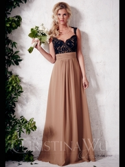 Sweetheart Floor Length A-line Christina Wu Occasions Bridesmaid Dress 22649