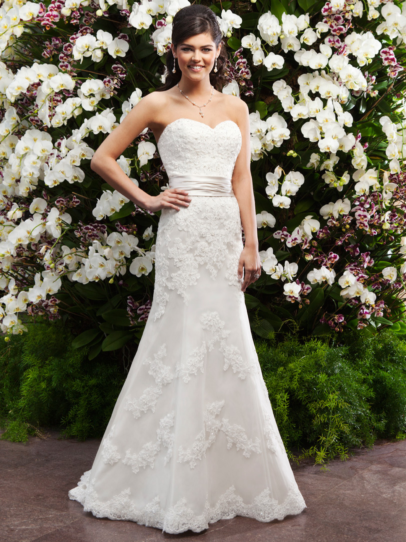 Sweetheart Ruched Waist Lace Fit and Flare Sincerity Bridal Gown 3722 ...