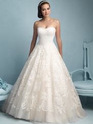 Sweetheart Lace Ball Gown Allure Wedding Dress 9217