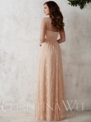Sweetheart Lace Floor Length A-line Christina Wu Occasions Bridesmaid Dress 22670