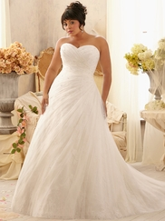 Sweetheart Pleated And Beaded Mori Lee Julietta Plus Size Bridal Dress 3156