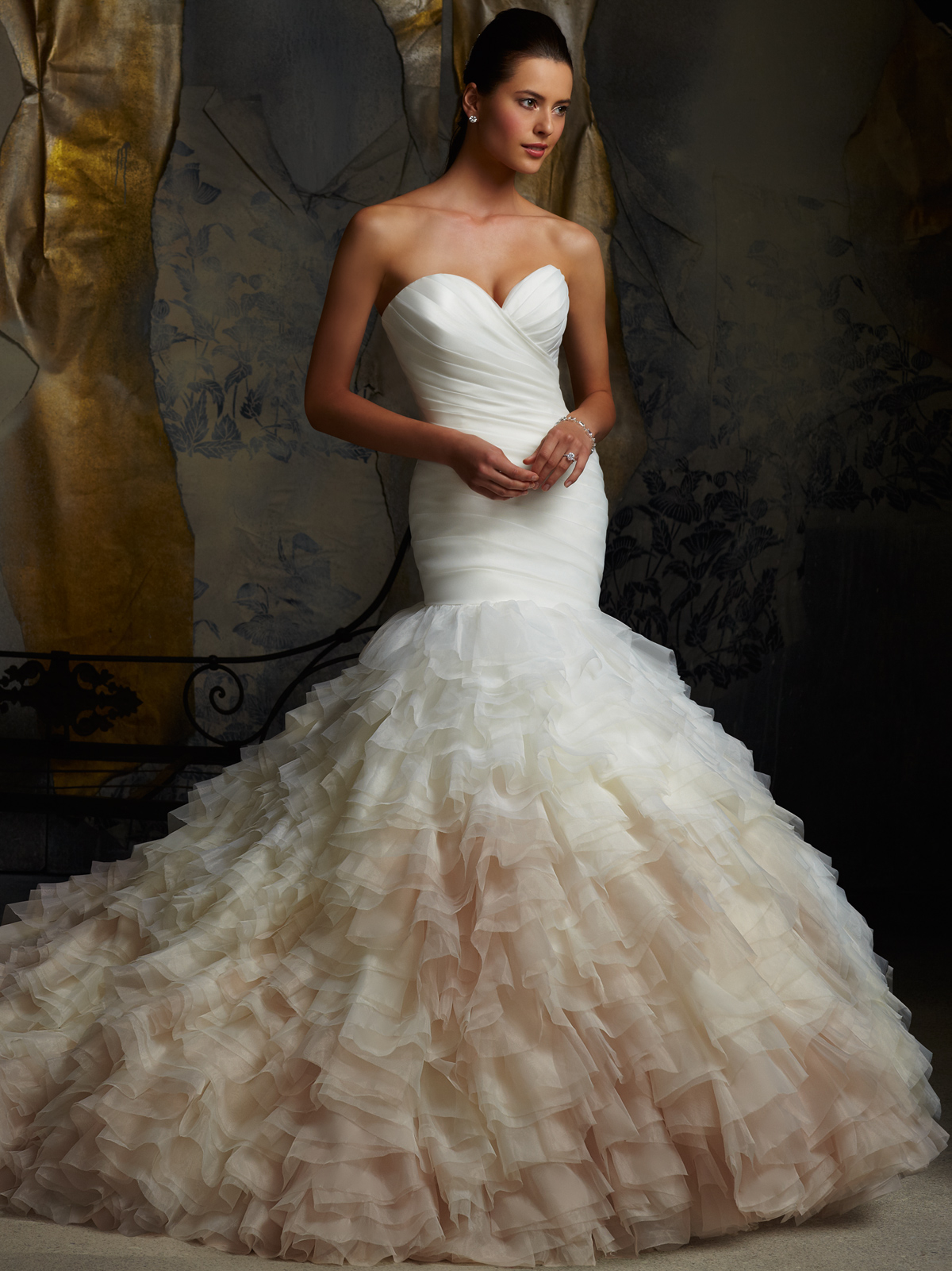 sweetheart pleated bridal gown mori lee
