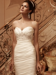 Sweetheart Ruched And Beaded Satin Bridal Gown Casablanca 2118