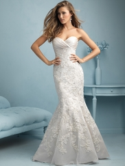 Sweetheart Ruched And Lace Trumpet Allure Wedding Dress 9216