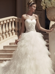 Sweetheart Ruched Tulle Over Satin Bridal Gown Casablanca 2114