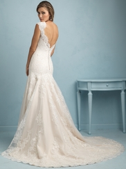 Sweetheart With Cap Sleeves Lace Fit And Flare Allure Wedding Dress 9208
