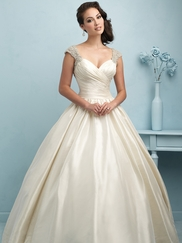 Sweetheart With Cap Sleeves Pleated Ball Gown Allure Wedding Dress 9204