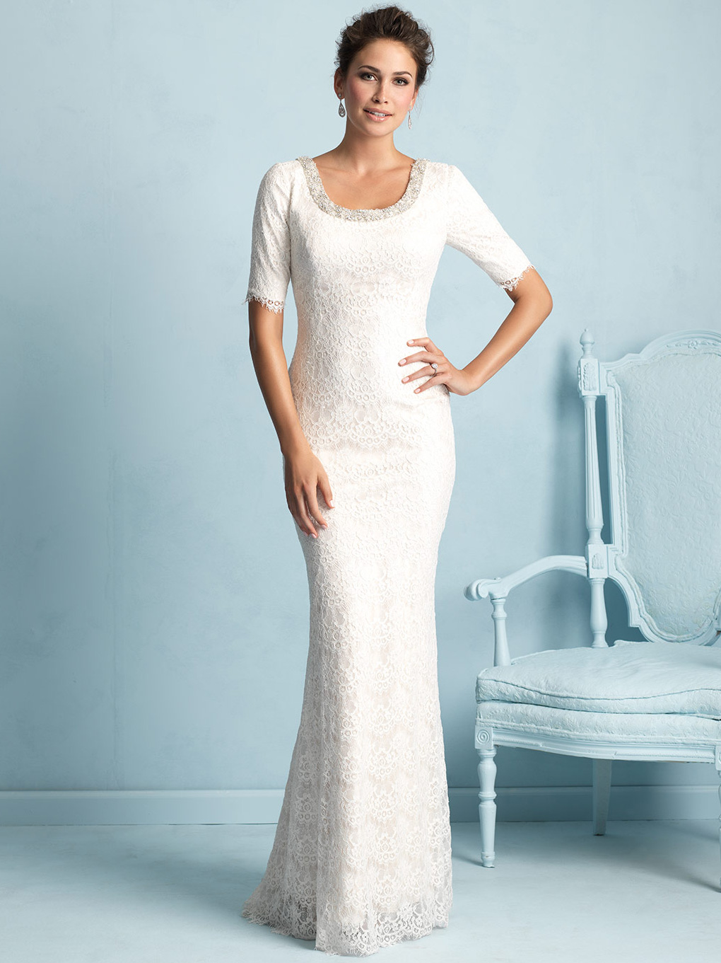 Allure Modest Sleeved Sheath Wedding Dress M532