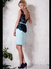 V back Lace And Satin Short Christina Wu Occasions Bridesmaid Dress 22656