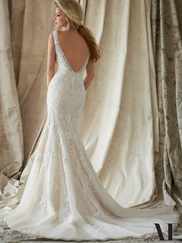 V-neck Beaded Fit And Flare Angelina Faccenda by Mori Lee Wedding Dress 1324