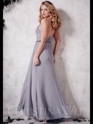 V-neck Chiffon Floor Length A-line Christina Wu Occasions Bridesmaid Dress 22659