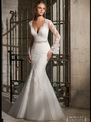 V-neck Lace Fit And Flare Mori Lee Wedding Dress 2701