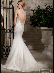 V-neck Lace Fit And Flare Mori Lee Wedding Dress 2710