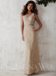 V-neck Lace Floor Length Christina Wu Occasions Bridesmaid Dress 22665