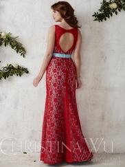 V-neck Lace Floor Length Christina Wu Occasions Bridesmaid Dress 22674