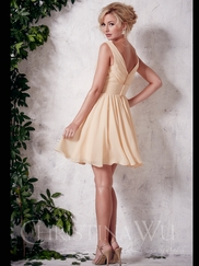V-neck Short Christina Wu Occasions Bridesmaid Dress 22645