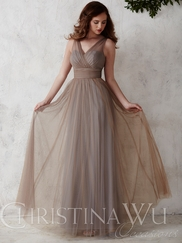 V-neck Tulle Flowing A-line Christina Wu Occasions Bridesmaid Dress 22667