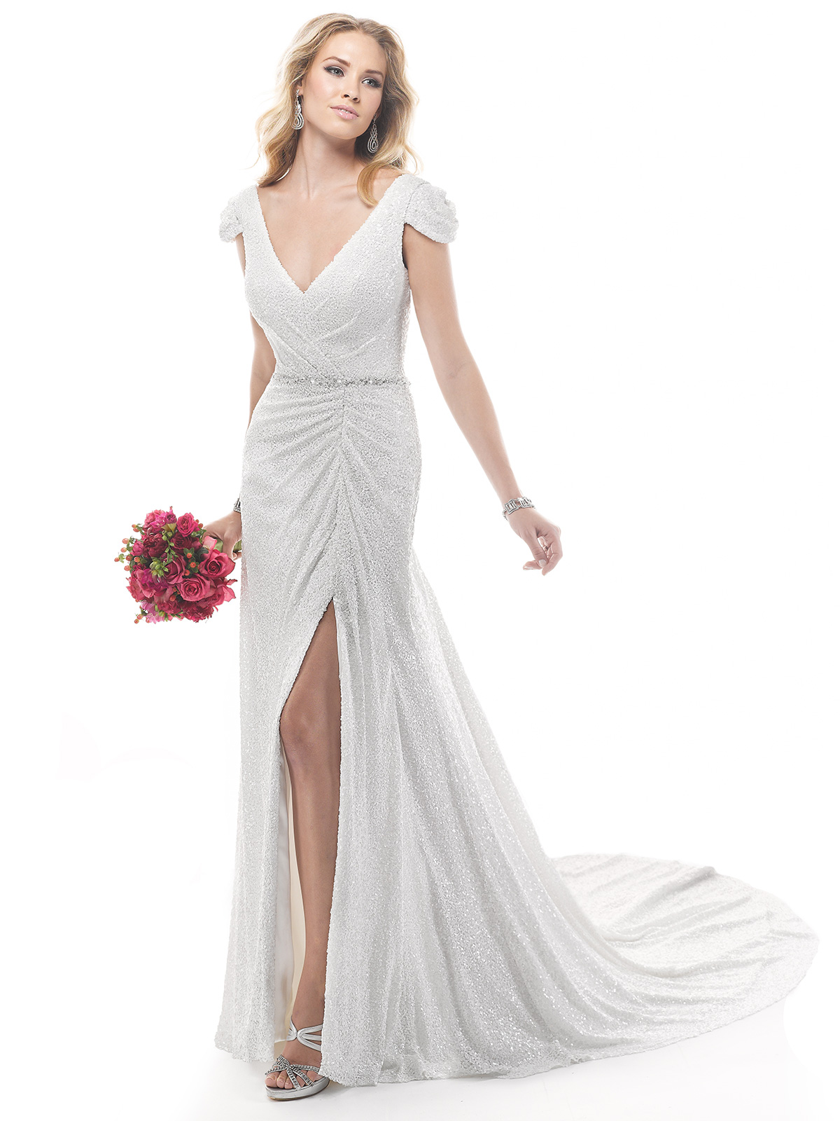 Janice Sung Wedding V Neck With Cap Sleeves Beaded Bridal Gown