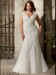 V-neck With Cap Sleeves Lace Fit And Flare Mori Lee Julietta Wedding Dress 3177