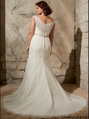 V-neck With Cap Sleeves Lace Floor Length Mori Lee Julietta Wedding Dress 3172