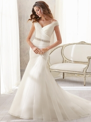 V-neck With Cap Sleeves Ruched Mori Lee Blu Wedding Dress 5210