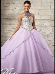 Vizcaya Quinceañera 89025 AB Stoned Bodice Ball Gown