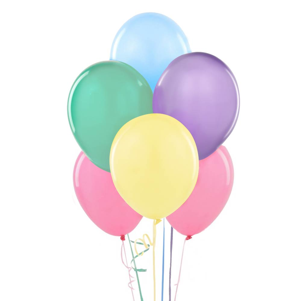 "12"" Assorted Pastel Colored Balloons"