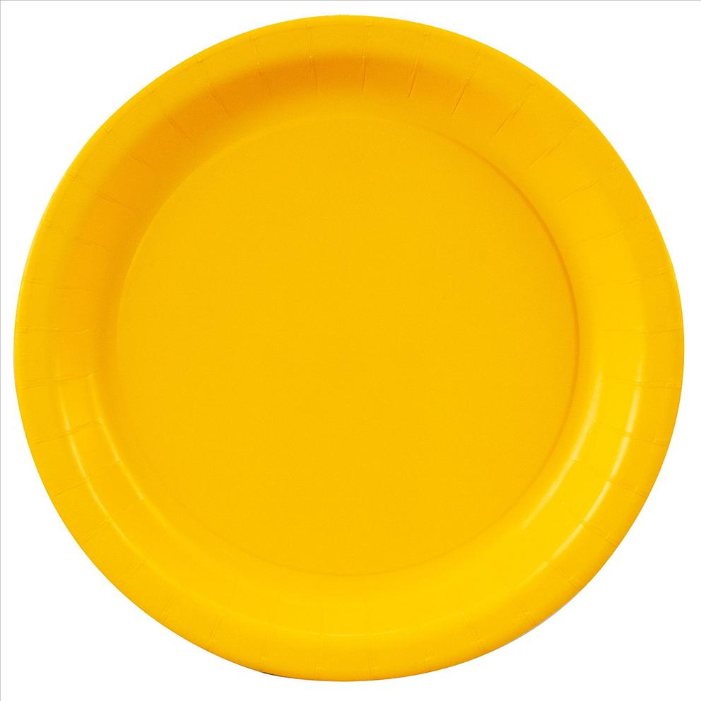 yellow paper plates Light yellow paper plates add color to your table and make for easy clean-up after your party or event 105 inches and sold in packs of 20 available in other colors bulk discount pricing available.