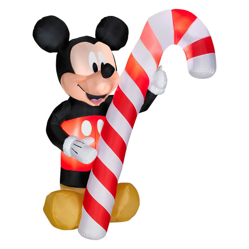 Airblown Mickey Mouse Holding Candy Cane