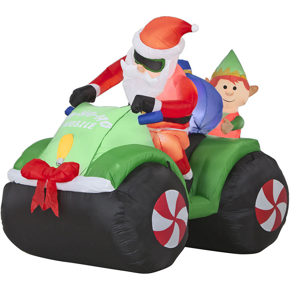 Gemmy Airblown Santa And Elf On Four Wheeler : set at Sears.com
