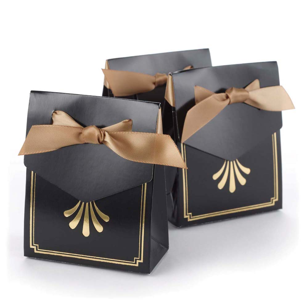 Art Deco Wedding Gift : Art Deco Tent Favor Boxes - Gold