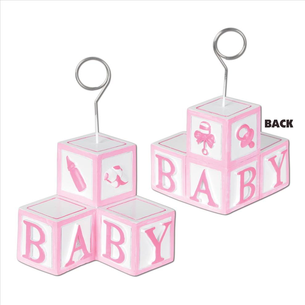 Baby Blocks Girl Photo Holder Balloon Weight