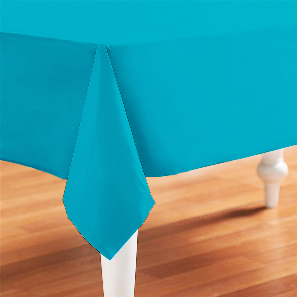 Caribbean Teal Plastic Table Cover Rectangle