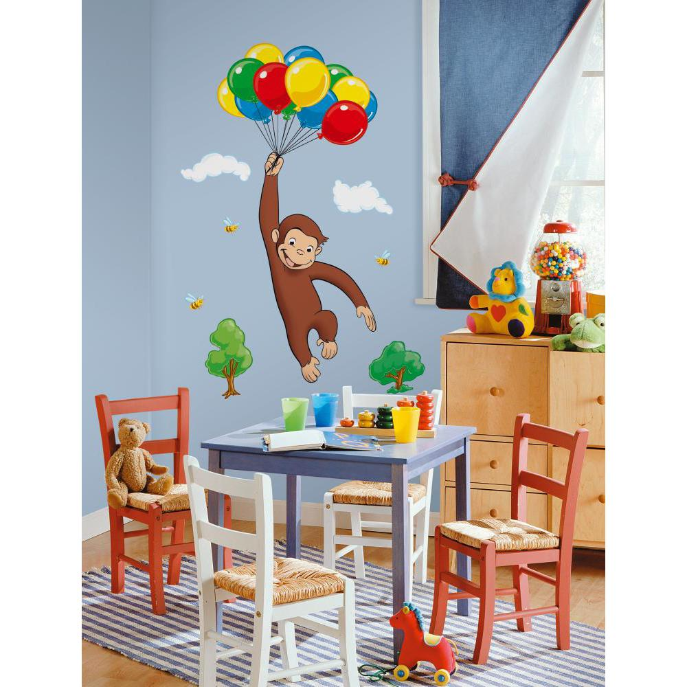 Curious george peel and stick giant wall decal