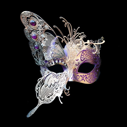 Gold With Purple Accents Venetian Butterfly Mask