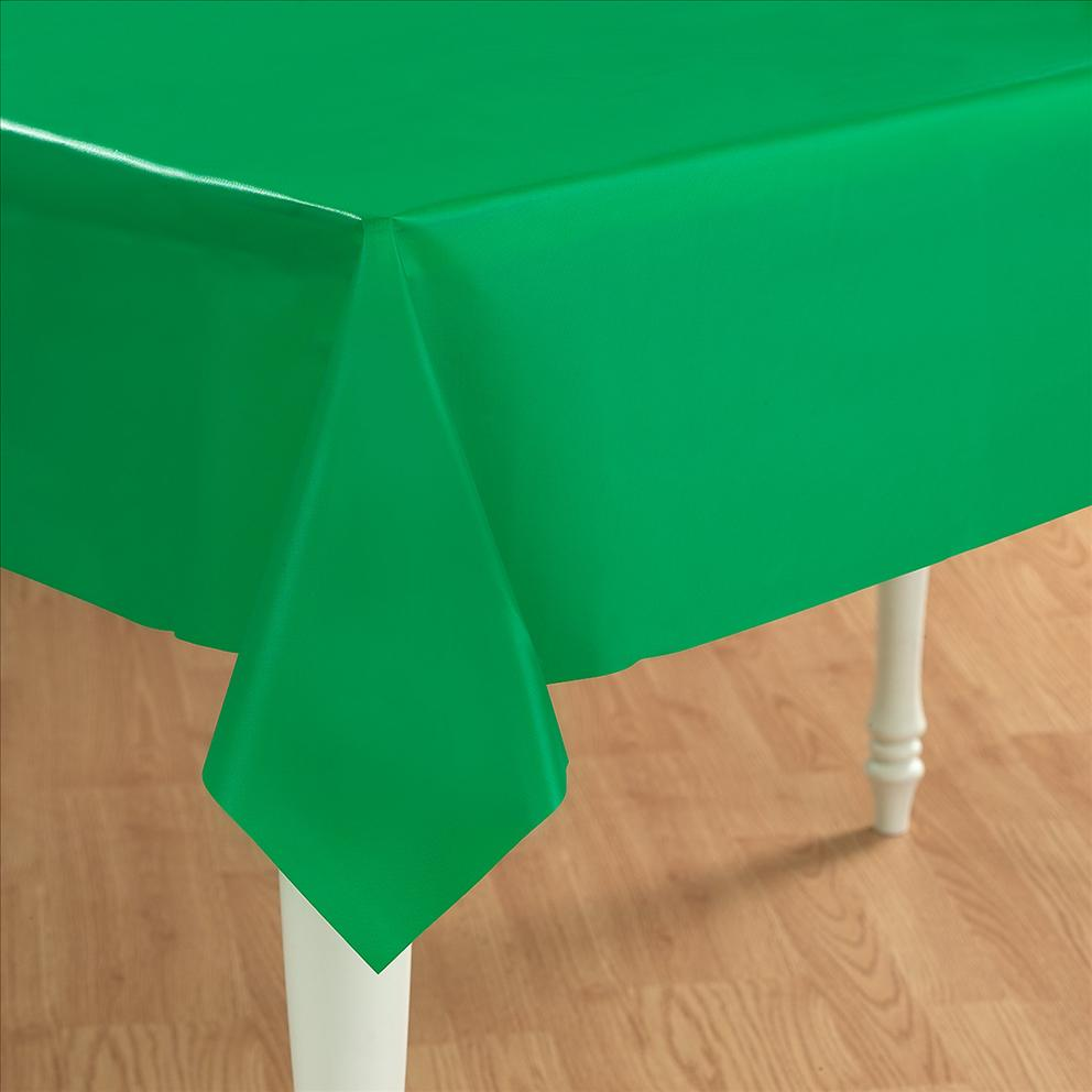 Table Cloth Green : Green Plastic Table Cover - Rectangle