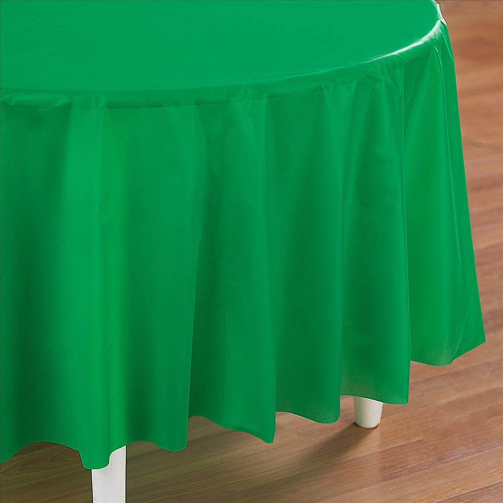 Green Plastic Table Cover   Round